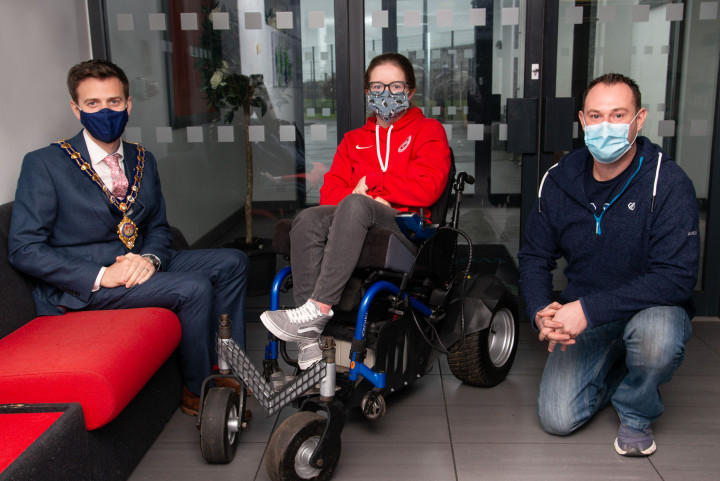 Paralympian Claire helps road test Larne man's winning innovation